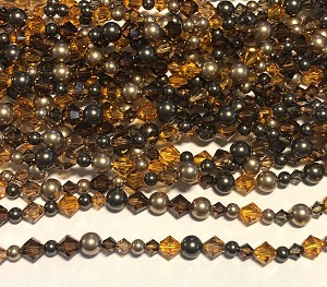 Swarovski Bicone & Glass Pearl Mixed Strand - 4 & 6mm - Autumn Taupe Mix