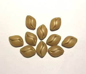 11 x 15mm Czech Pressed Glass Flat Rice – Matte Beige Opal w/ Gold Wave - 2 pcs.