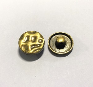 16mm Pewter Textured Button - Antique Brass - 1 qty.