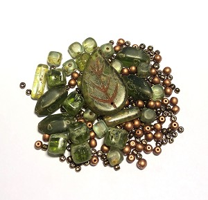 Czech Glass Necklace Kit - Beads Only - Olive Green & Copper