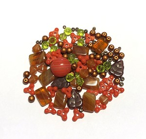 Czech Glass Necklace Kit - Beads & Findings - Shades of Autumn
