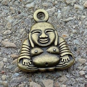22 x 25mm Antique Brass-plated Buddha - 1 qty.
