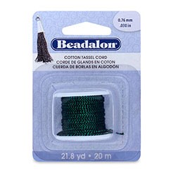 Cotton Tassel Cord, approximately 0.76 mm (.030 in), Metallic Green on Black, 21.8 yd (20 m)