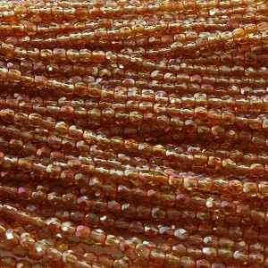3mm Czech Fire Polish Beads - Crystal Amber Aurora Borealis