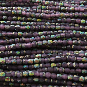 3mm Czech Fire Polish Beads - Matte Plum Aurora Borealis
