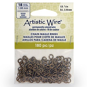 18 Gauge Artistic Wire, Chain Maille Rings, Round, Antique Brass Color, 1/8 in (3.18 mm), 180 pc