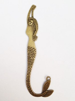 32 x 105mm Antique Brass Mermaid Bookmark - 1 qty.