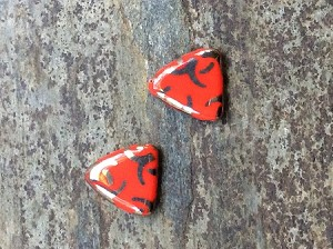 16mm Czech Glass Triangles - Opaque Red Aluminum - 2 qty.