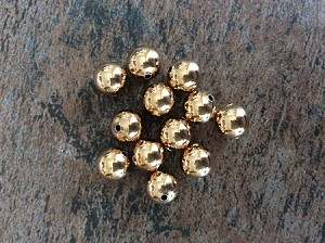 10mm Round – Imitation Gold-plate - 12 qty.