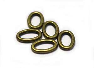 9 x 14mm Pewter Oval Connector - Antique Brass - 5 qty.