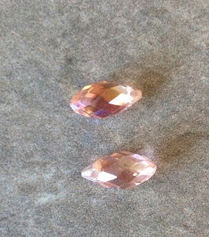 6 x 11mm Chinese Crystal Briolette – Peach - 2 qty.