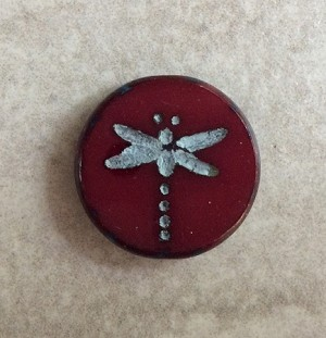 17mm Czech Glass Table-cut Dragonfly – Opaque Red with Silver Wash – 1 qty.