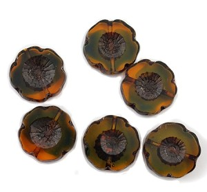 14mm Czech Glass Hawaiian Flower - Amber w/ Blue & Travertine - 1 pc.