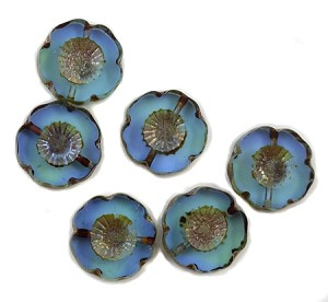 14mm Czech Glass Hawaiian Flower - Aqua w/ Silver Travertine - 1 pc.