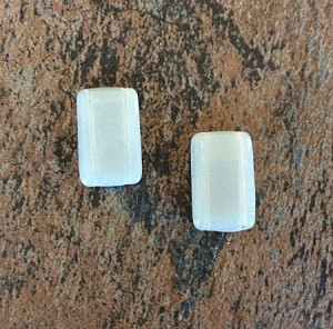 12 x 20mm Czech Glass 2-hole Rectangle - Silver Opal - 2 qty.