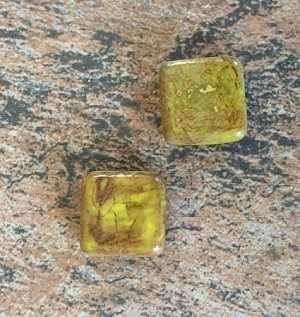 16mm Czech Glass Tabular Square - Chartreuse with Travertine - 2 qty.