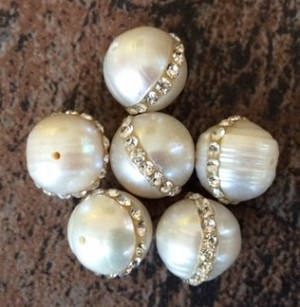 8-10mm Freshwater Potato Pearl with Crystals – 1 pc.