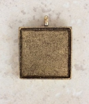 32mm Pewter with Antique Gold Square Resin Blank – 1 pc.