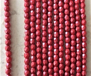 4mm Czech Fire Polish - Matte Pearlized Ruby Red- 50 qty. - BB