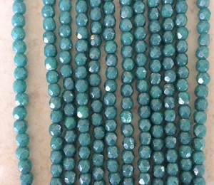 3mm Czech Fire Polish - Turquoise Vega - 50 qty. - BB