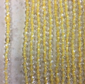 3mm Czech Fire Polish - Crystal Yellow Lined - 50 qty. - BB