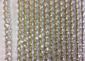4mm Czech Fire Polish - Crystal Gold Lined - 50 qty. - BB