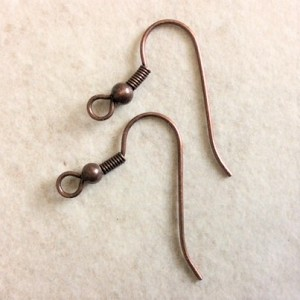 Brass Ear Wires ° Antique Copper-Plated ° 4 pairs
