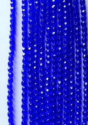 3mm Czech Fire Polish - Transparent Cobalt Blue - 50 qty. - BB