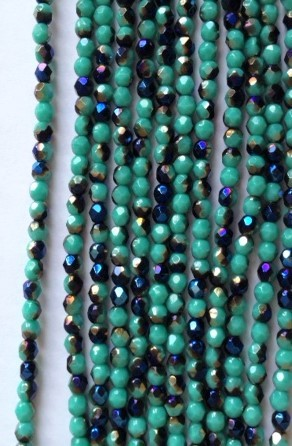 4mm Czech Fire Polish - Opaque Turquoise Metallic Blue - 50 pcs. BB