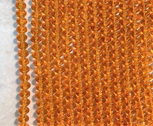 6 x 8mm Czech Glass Twisted Rondelle – Amber – 32 pcs