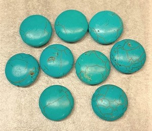17-18mm Magnesite Coin – Turquoise – 2 pcs
