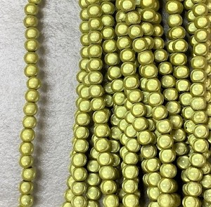 4mm Resin Miracle Bead ° Chartreuse with Gold Luster ° 50 pcs.