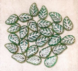 9 x 14mm Czech Glass Leaf – Green Opal with Silver Wash – 25 pcs.