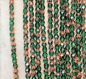 4mm Czech Fire Polish - Fern Green Half Copper - 50 Qty. BB