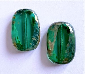 12 x 18mm Czech Glass Table-Cut Side-Angled Oval – Emerald Green with Travertine  – 2 pcs.