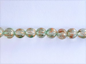 8mm Czech Glass Melon – Green with Copper Wash – 16 pcs