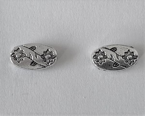 6 x 12mm Pewter Oval ° Antique Silver with Double Roses ° 2 pcs.