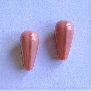 10 x 20mm Czech Glass Drop – Pink Opal – 2 pcs.