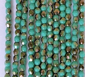 4mm Czech Fire Polish - Turquoise Half Bronze Luster - 50 Qty. BB