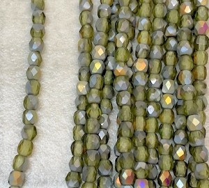 3mm Czech Fire Polish - Matte Olive Marea - 50 qty. - BB