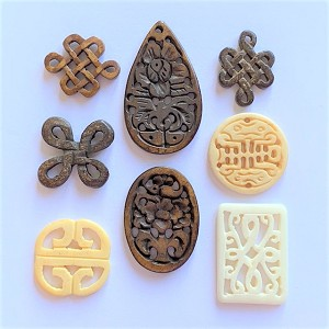 Chinese Carved Bone Pendant ° Size and Style Varies ° 1 pc.