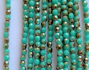 3mm Czech Fire Polish - Turquoise Half Bronze Luster - 50 qty. - BB