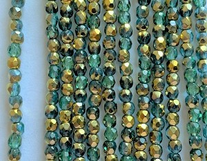 4mm Czech Fire Polish - Emerald Half Bronze - 50 Qty. BB