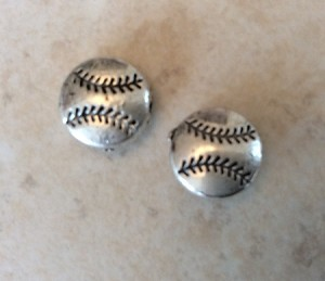 10mm Pewter Baseball – Antique Silver – 2 qty.
